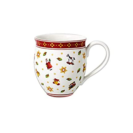 Villeroy & Boch Toy's Delight Taza Grande, 440 ml, Porcelana Premium, Blanco/Rojo