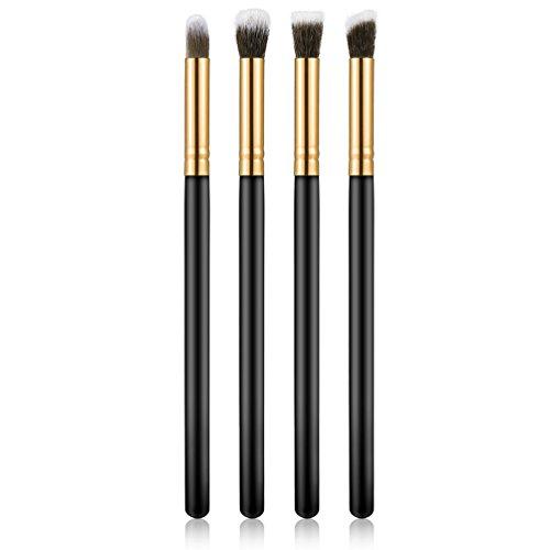TAOHOU 4pcs Maquillage Outil cosmétique Fard à paupières Fondation Ombre à paupières mélange Pinceau Ensemble Or et Noir