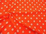 Printed Liverpool Textured 4 Way Stretch Fabric Small White Polka Dot Neon Orange G303