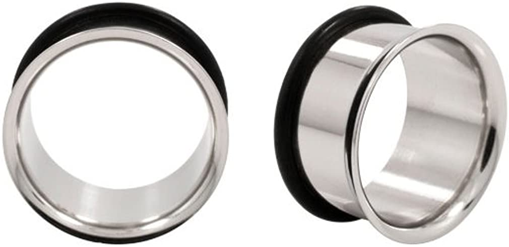 Bargain sale Urban Body Jewelry Pair of 1 Inch 25mm Stainless Outlet ☆ Free Shipping 316L St Gauge
