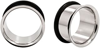 Pair of (17mm) Gauge 316L Stainless Steel Single Flared Tunnel Plugs (STL042)