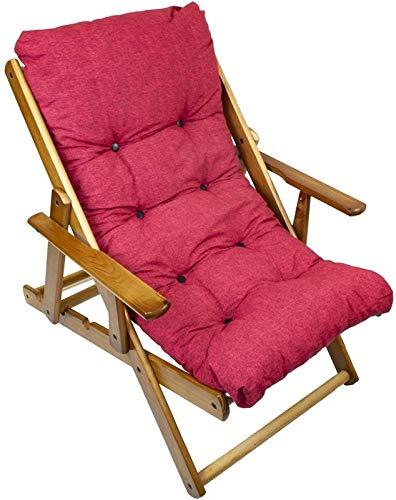 MAURY'S Poltrona Sdraio Harmony Relax Comodona in Legno 90 x 73 x 100h cm 3 Posizioni con Cuscino Imbottito (Rosso)