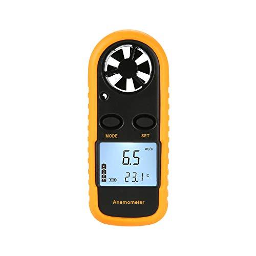 Handheld Windmesser Tragbares Digitales Anemometer Wind Speed Meter Gauge Air Flow mit LCD-Hintergrundbeleuchtung zur Messung von Windgeschwindigkeit, Temperatur und Windkälte