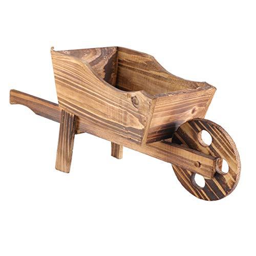UPKOCH Wagen Pflanzer Holz Schubkarre Pflanzer Blumentopf Stand Pflanze Topf Wagenhalter Schubkarre Figur für Hausgarten Outdoor-Dekor