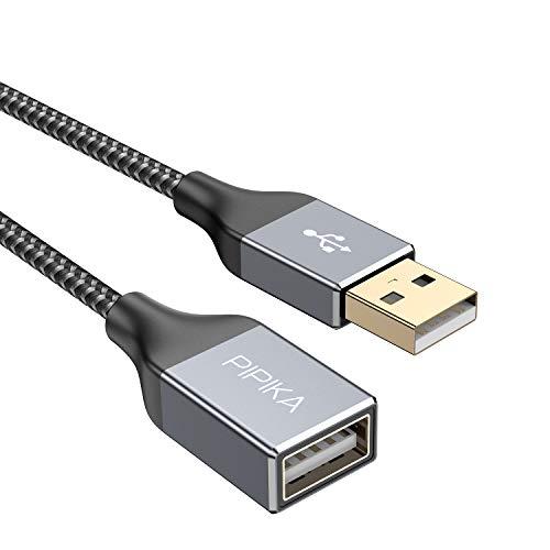 PIPIKA USB Verlängerung Kabel[2M], USB 2.0 Verlängerungskabel A Stecker auf A Buchse mit eleganten Alluminiumsteckern, Nylon Stoffmantel für Kartenlesegerät,Tastatur, Drucker, Scanner, Kamera