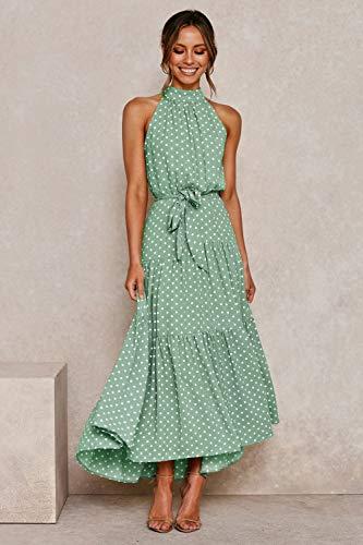 Vestido Mujer Bohemio Largo Verano Playa Fiesta Floral/Polka Dot Maxi Vestidos Cóctel Falda Larga con Cinturón Puntos Verdes M