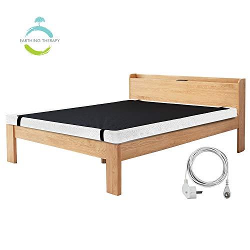 NGLVKE Atmungsaktive Erdungsbettmatte für Besseren Schlaf (137 * 180 cm), Anti-Schmutz-Matratze für Fußerdung mit 15 Fuß EU-Verbindungskabel Schwarz