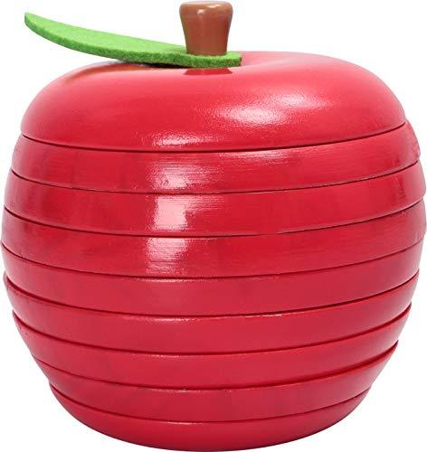 Small Foot 11915 Lernspiel Logisteck Apfel, mit lustigen farbenfrohen Raupen, Steckspiel für Kinder, ab 3 Jahren Toys, Multicolor