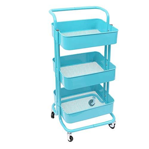Küchenwage SSLL Dreischichtiger Blauer Walzwagen, multifunktionaler Metallspeicherwagen mit Netzkorb und abschließbaren Rollen, einfach zu montieren