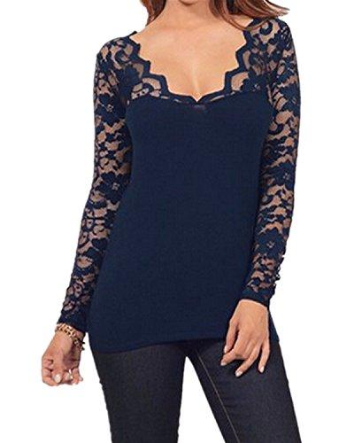 StyleDome Blusa Camiseta Casual Elegante Verano Algod¨®n Encaje Cuello V para Mujer...