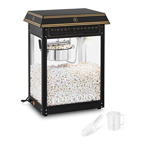Royal Catering RCPS-BG1 Retro Popcornmaschine Popcornmaker Popcornautomat 1600 W 5 kg/h golden & schwarz