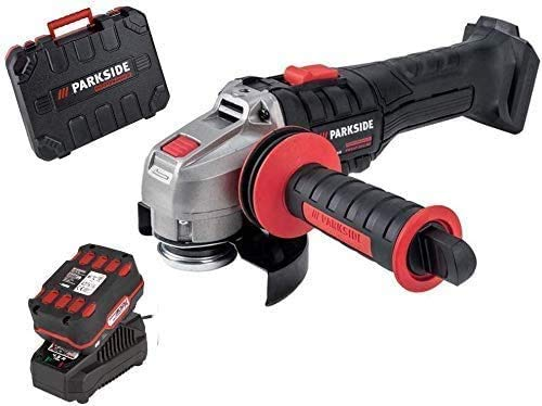 Parkside Performance PWSAP20 - Amoladora angular inalámbrica (sin escobillas/Brushless, con batería de 4,0 Ah y cargador de 4,5 A, con maletín, compatible con todas las baterías de 20 V Parkside