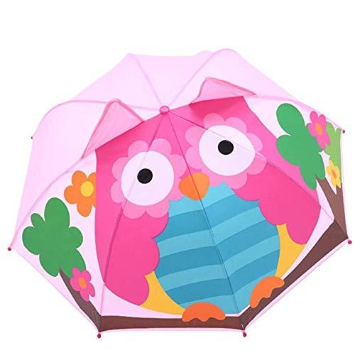 MAWA Cubierta de Paraguas de Dibujos Animados en 3D Parasol protección Solar protección UV Paraguas Plegable a Prueba de Viento al Aire Libre Lluvia y Viento - H, a1