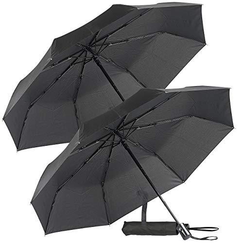 PEARL Taschenschirm: 2er-Set Automatik-Taschen-Regenschirme, bis 40 km/h, Ø 100 cm (Umbrella)