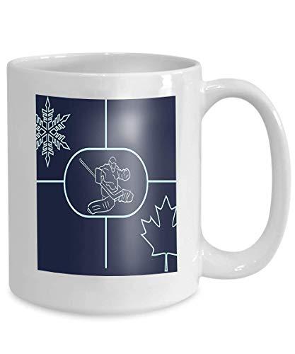 NA Año Nuevo Taza de té o café o Vino Taza Blanca de 11 onzas 100% cerámica Imagen de Fondo de Hockey sobre Hielo en relación con el Portero de Canadá Copo de Nieve Hoja de Arce Simple
