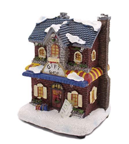 Decoline Weihnachtshaus mittelgroß - Geschenkeladen - bunt und beleuchtet - 5 LED - Lichthaus - Weihnachtsambiente - Winterszene - Nikolaushaus
