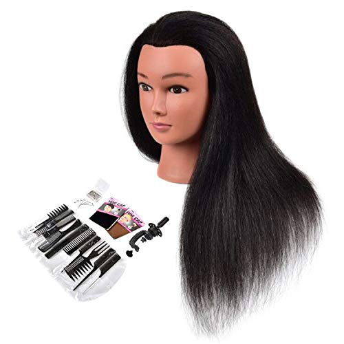 "Cosmetology Mannequin Head with Human Hair, Premium 100% Real Human Hair Mannequin Manican Heads, Maniquins Manikin Head with Human Hair Styling Braiding Practice (18"" Natural Black #1B)"