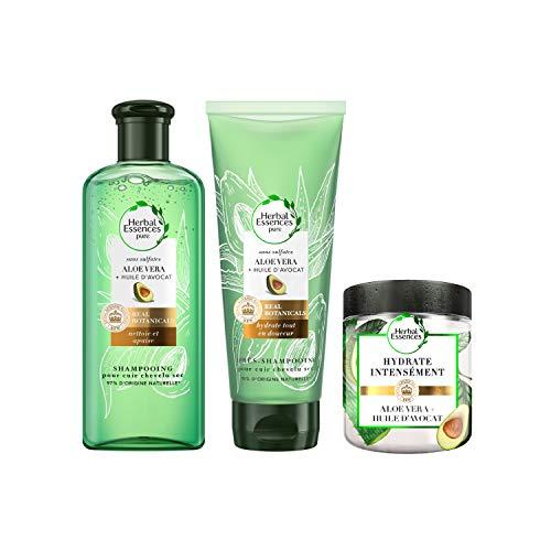 Herbal Essences Pure Shampoing 225 ml, Après Shampoing 180 ml et Masque 250 ml, pour Cuir Chevelu Sec avec Aloe Vera et Huile d'Avocat, 96% d'Origines Naturelles, Sans Sulfates