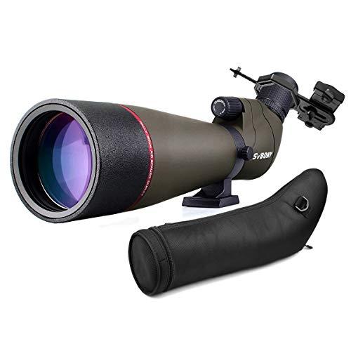 Svbony SV13 Cannocchiale 20-60x80 con Adattatore Smartphone, HD Porro Prisme Impermeabile Telescopio Spotting Scope Borsa per il Trasporto Monocolo Per Birdwatching Tiro sportivo