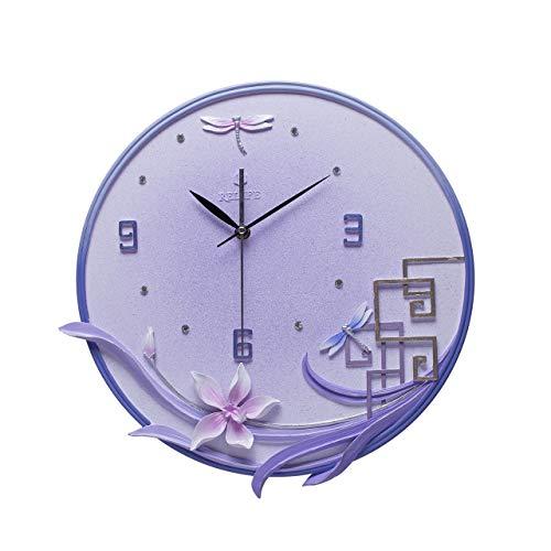 JCOCO Résine européenne horloge murale personnalité créative silencieux non-ticking horloge ronde nombre facile à lire horloge à quartz, utilisé pour salon chambre bureau mur (Couleur : G)
