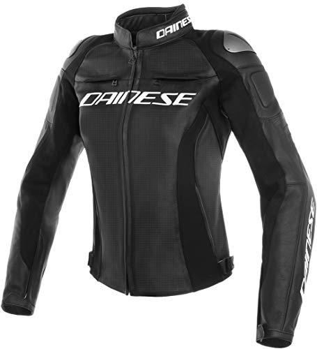 Dainese Motorradjacke mit Protektoren Motorrad Jacke Racing 3 Damen Lederjacke perforiert schwarz 38 (XXS), Sportler, Ganzjährig