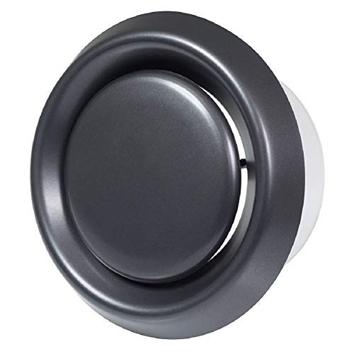 Europlast 6 in. Air Vent - Grill Cover - Anthracite Home Wall Ceiling Diffuser - Exhaust Supply Valve - Round Ventilation - Ducting Hose Covers, 6