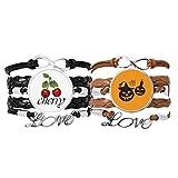 Bestchong Pulsera de cuero con diseño de calabazas de Halloween y velas de telaraña, juego doble