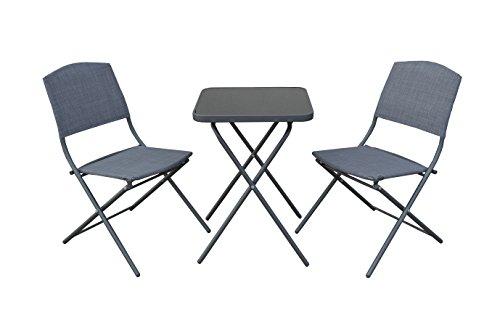 AVANTI TRENDSTORE - Messina - Set per il balcone, 2 sedie pieghevoli ed 1 tavolo pieghevole in metallo e vetro, grigio