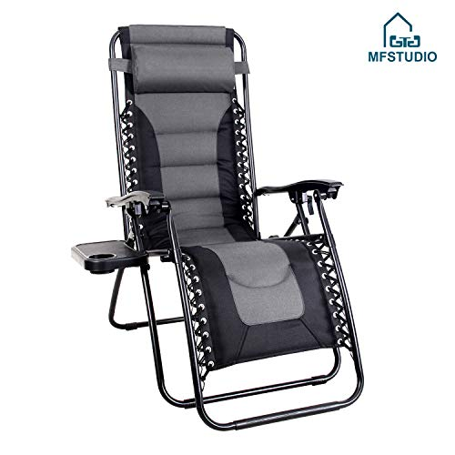 MFSTUDIO Zero Gravity Chair Large Portable Patio Recliners Adjustable Padded Folding Chair with Cup Holder for Poolside Outdoor Yard Beach, Gray