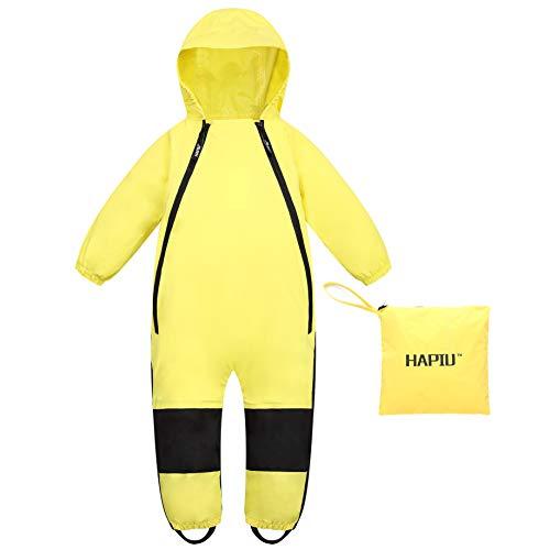 HAPIU Kids Toddler Rain Suit Muddy Buddy Waterproof Coverall,Yellow,4T,Original