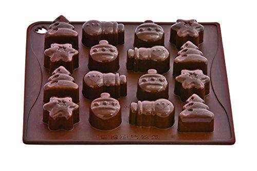 Pavonidea CHOCO02S Stampo in Silicone per Cioccolatini/Ghiacciolini, Marrone Choco-Ice Christmas