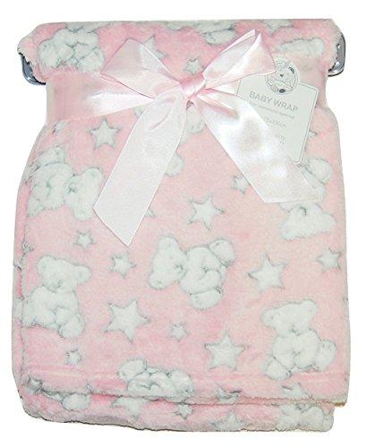 Baby Girl Soft Fleece Wrap Blanket Pram Cot Crib Moses Basket Pink Teddy