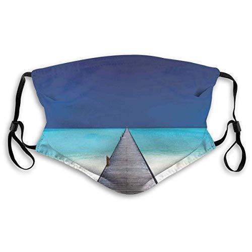 Houten lange steiger over strand zand met kristal water tropische Hawaiian Paradise Filtering gezicht Cover