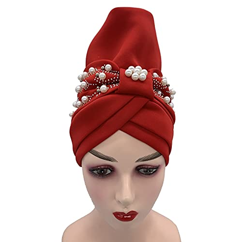 2021 Nuevo Turbante Hijab Bonnet ya hecho africano Auto Headtie musulmán Headscarf Caps Femenino Head Wraps Sombrero para fiesta (Color: 4)