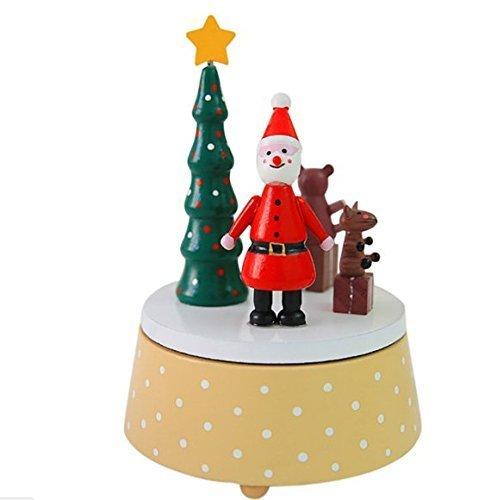 Urgrace Noël Boîte à musique en bois Motif Père Noël Cadeau pour enfants Père Noël Bonhomme de neige Ornements Decoracion Home Creative Cadeau de Nouvel An