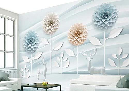papel pintado Origami azul claro fresco flor elk gran mural personalizado 3D foto papel tapiz sala de estar sofá TV fondo decoración mural papel tapiz-400cmx280cm