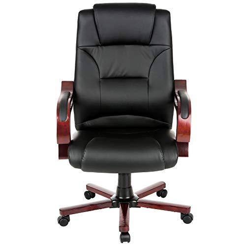 TecTake Fauteuil de Direction, Chaise de Bureau, Noir, Accoudoirs en Bois