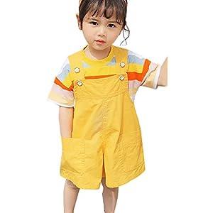 Plus Nao(プラスナオ) オーバーオール サロペット 半袖Tシャツ カットソー キッズ 子供 女の子 女子 小学生 子供服 キッズ服 2点セット 上 イエロー 120cm