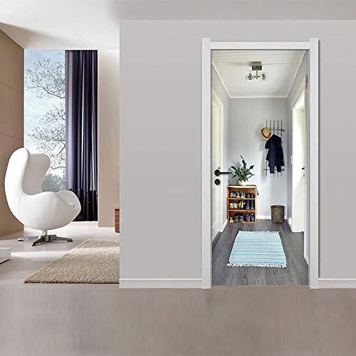Kesdie Muursticker voor fotobehang in kledingkast, 3D, zelfklevend, voor deuren, muurstickers, decoratie voor thuis, 77 x 200 cm