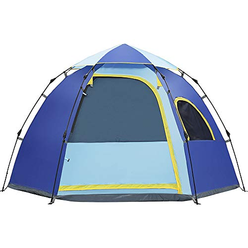 Outdoor Automatische Tent Draagbare Zeshoekige Awning Yurt Camping benodigdheden Geen Geur Dubbele Deur En Raam Gemakkelijk te installeren Geschikt voor Park Vrije tijd Zelfrijdende Camping