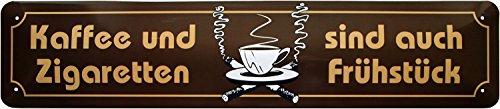 Café & cigarettes sont également Petit Déjeuner Plaque de rue Plaque de 46 x 10 cm str84