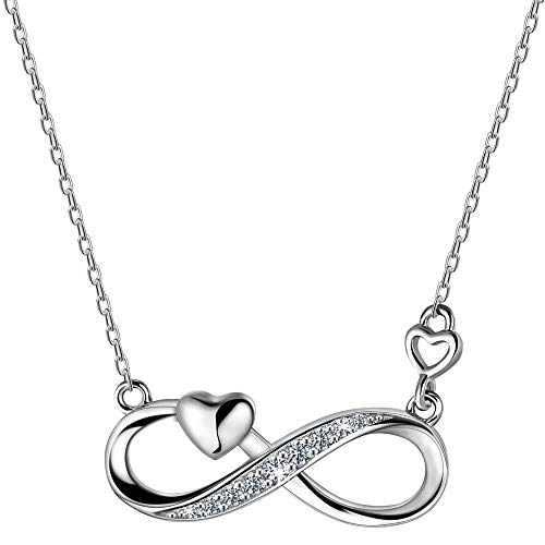 F.ZENI Infinity Necklace for Women 925 Sterling Silver Eternal Love Cubic Zirconia Pendant Necklace for Her Anniversary Christmas Jewellery Gift