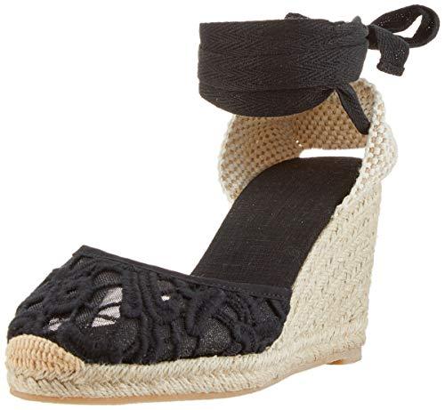 Alpargatas con tacón de cuña de Encaje de Mezclilla clásico para Mujer con Tiras con Cordones Blacklace36