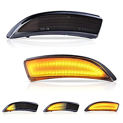 LED Mirror Turn Signal Light - Smoked Lens Switchback Amber Mirror Light with 48LEDs - Side Mirror Marker Lamps Compatible With 2008.08-2017.04 Ford Fiesta Mk7 and B-Max 2012.11-2017.09, Pack of 2