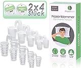 PhysioSpirit 92361 - Schnarchstopper 8er Set - Anti Schnarch Nasenklammer gegen kompensiertes Schnarchen* - Nasenspreizer aus weichem Silikon für ruhige Nächte (8 Stück)