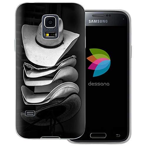 dessana Cowboy transparante beschermhoes mobiele telefoon case cover tas voor Samsung Galaxy S Note, Samsung Galaxy S5 mini, Cowboy hoed