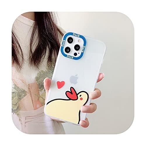 INS transparente lindo pato lado amor teléfono caso para iPhone 12 11 Pro XR XS Max 7 8 Plus X suave TPU transparente contraportada Coque-2-Para Iphone 7 Plus