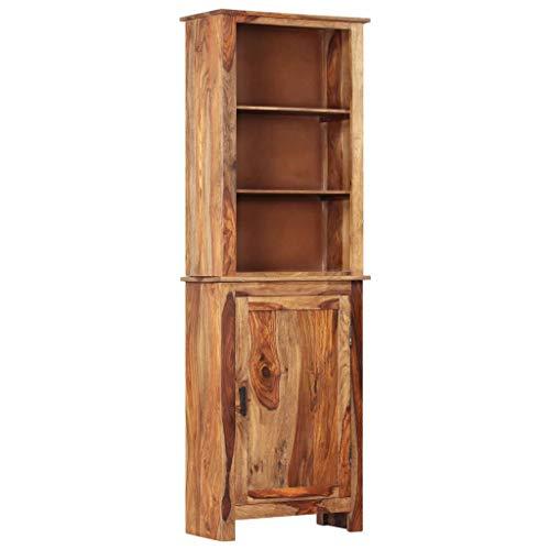 vidaXL Sheesham-Holz Massiv Highboard mit 1 Schrank 3 Fachböden Standschrank Bücherschrank Bücherregal Vitrine Kommode Schrank 60x30x180cm Palisander