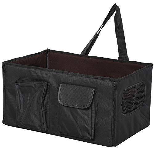 Pawhut Hundetasche Hundebox faltbar Hundetransportbox Reisebox Katzenbox Autositz Oxford Schwarz 52x34x28 cm