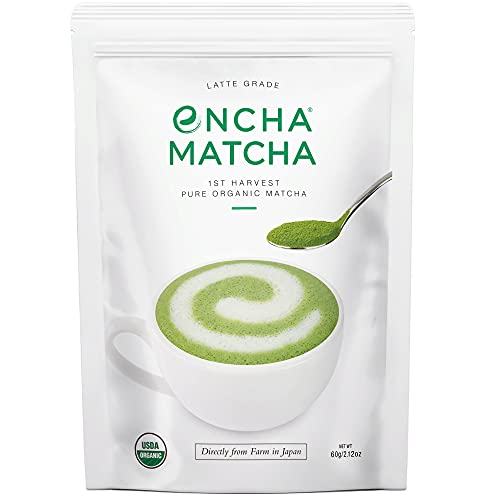 Encha Latte Grade First Harvest Organic Matcha Green Tea Powder, From Uji, Japan (60g/2.12oz)